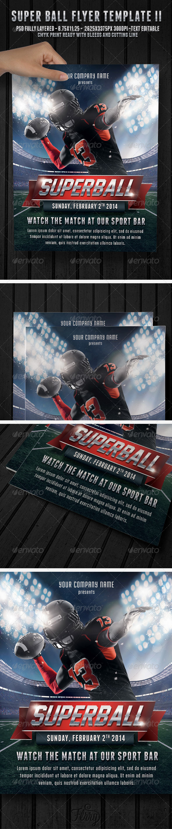GraphicRiver Super Ball Football 2 Flyer Template 6608600