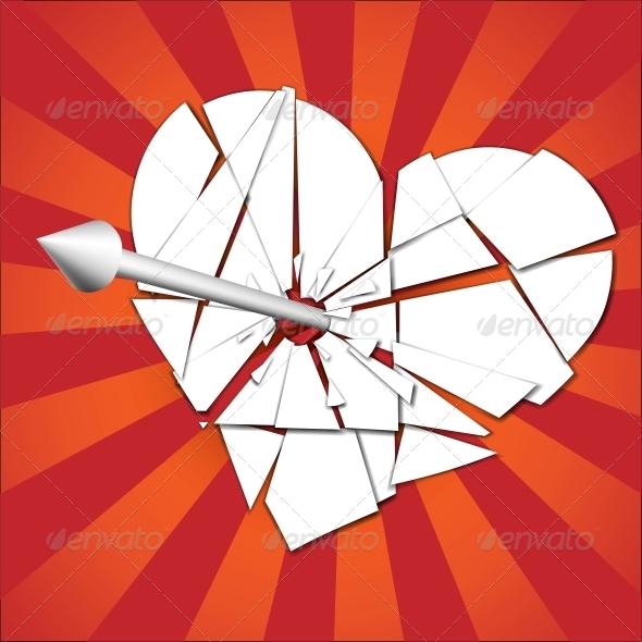 GraphicRiver Broken Heart Pierced by an Arrow 6678708