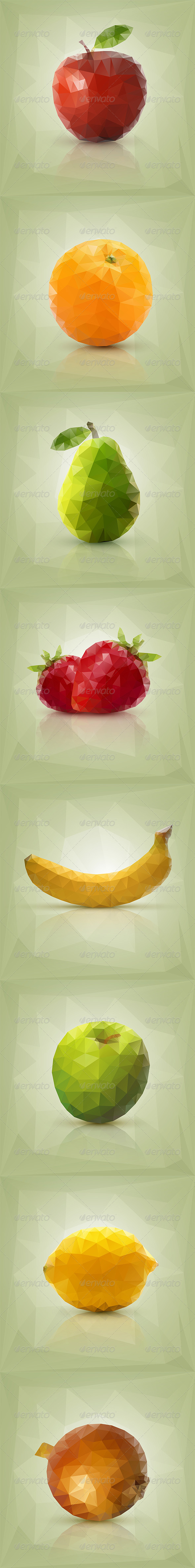 GraphicRiver Triangle Polygon Fruit Illustrations 6678716