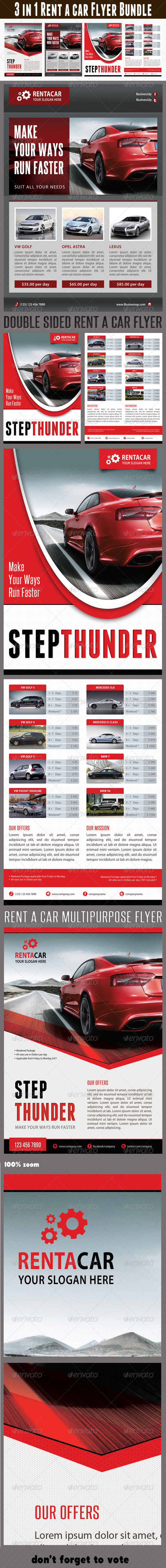 GraphicRiver 3 in 1 Rent A Car Flyer Bundle 01 6679068
