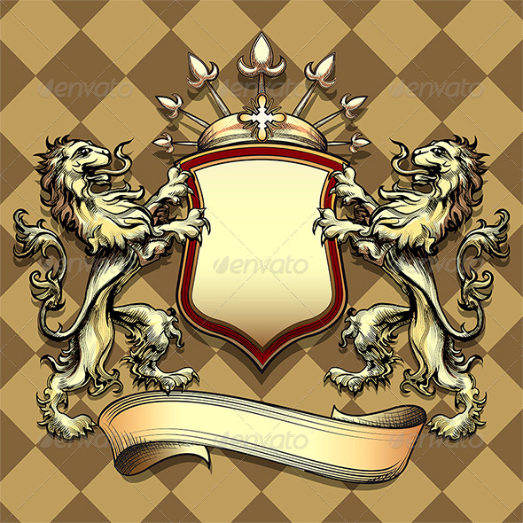 GraphicRiver The Shield with Lions 6679443
