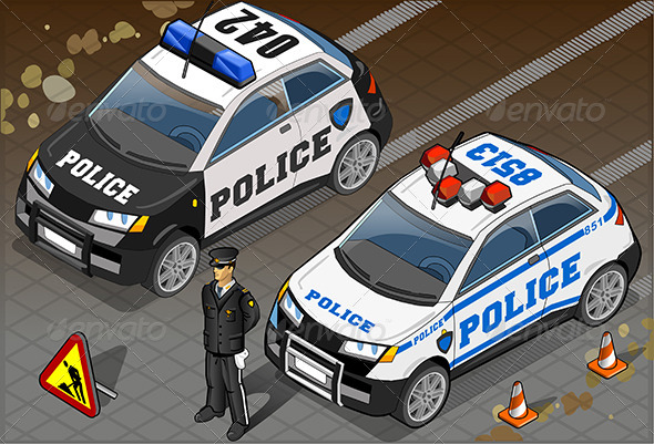 GraphicRiver Two Isometric Police Car in Front View 6679670