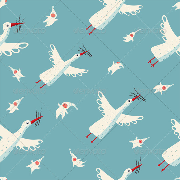 GraphicRiver Flying Storks and Children Seamless Pattern 6679784