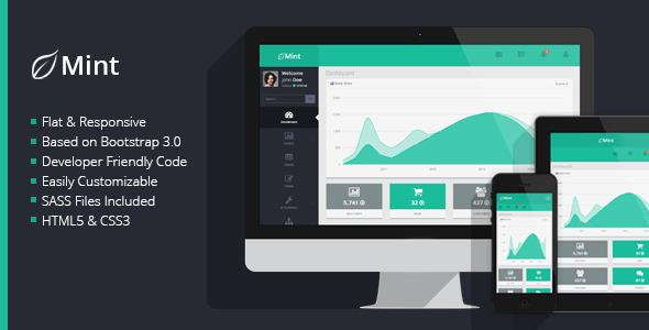 ThemeForest Mint Flat & Responsive Admin Dashboard Template 6679983