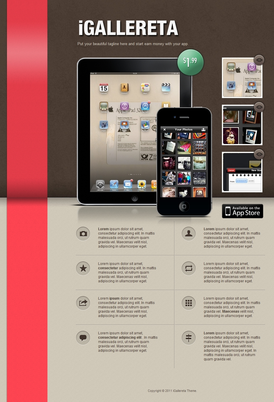 IGallereta - Mobile App Sales Page - an iGallereta template preview using the brown header background and a red ribbon.