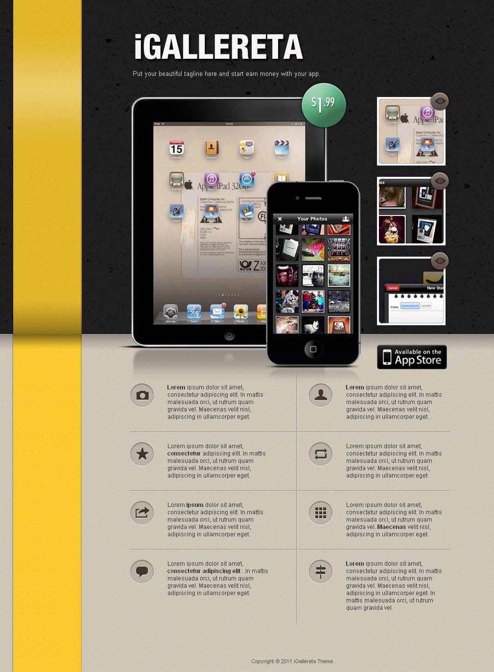IGallereta - Mobile App Sales Page - an iGallereta template preview using the black header background and a yellow ribbon.