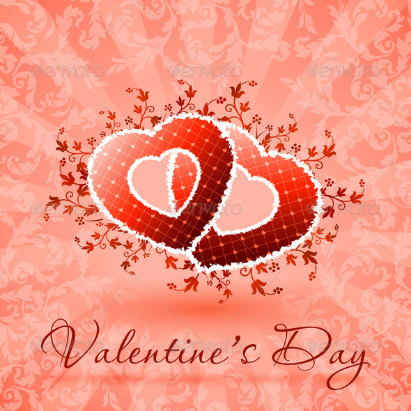 GraphicRiver Happy Valentine s Day Floral Card 6680747