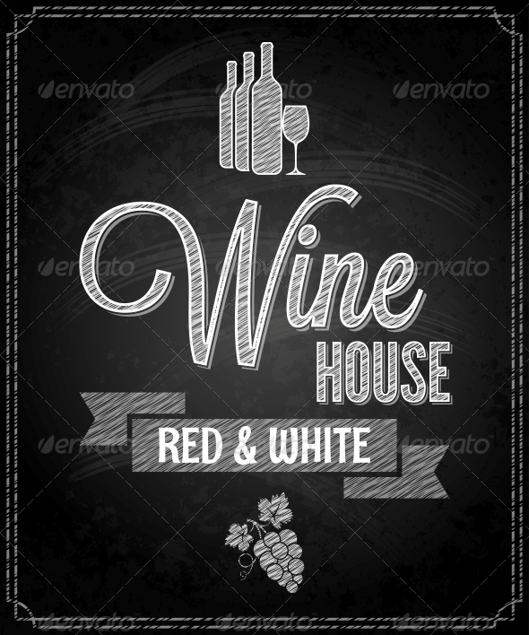 GraphicRiver Wine Menu Design Chalkboard Background 6680830