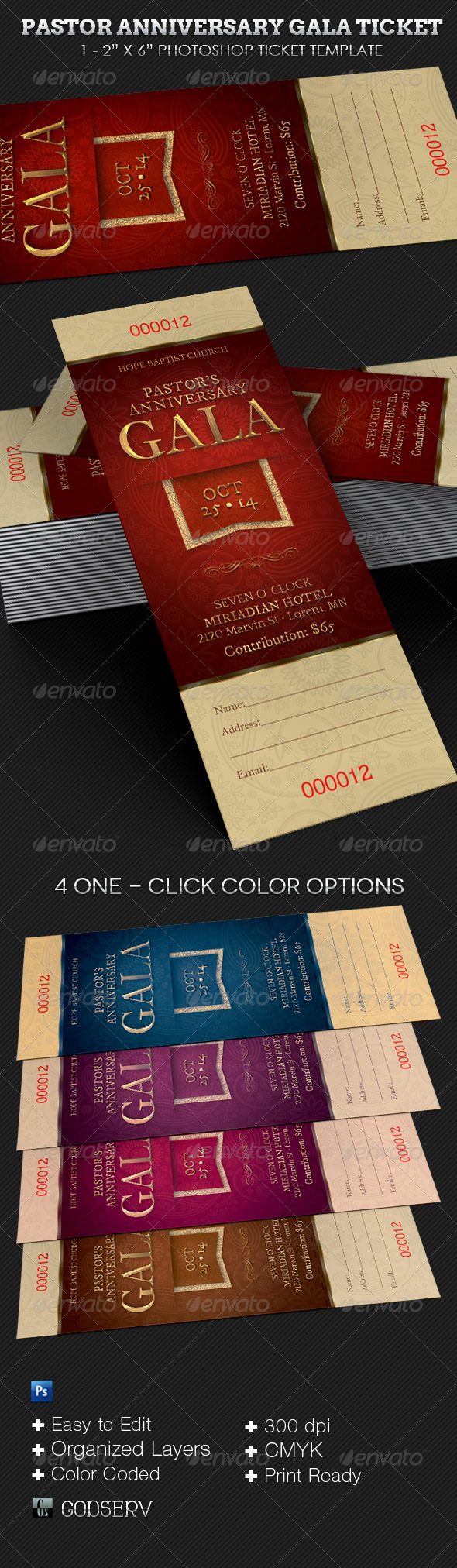GraphicRiver Pastor Anniversary Gala Ticket Template 6675671