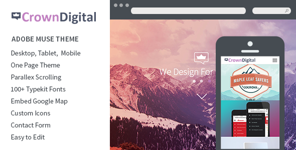 Crown Digital – One Page Parallax Muse Theme