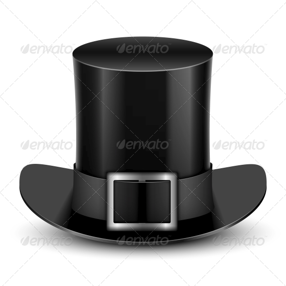 GraphicRiver Black Top Hat With Metallic Buckle 6681434