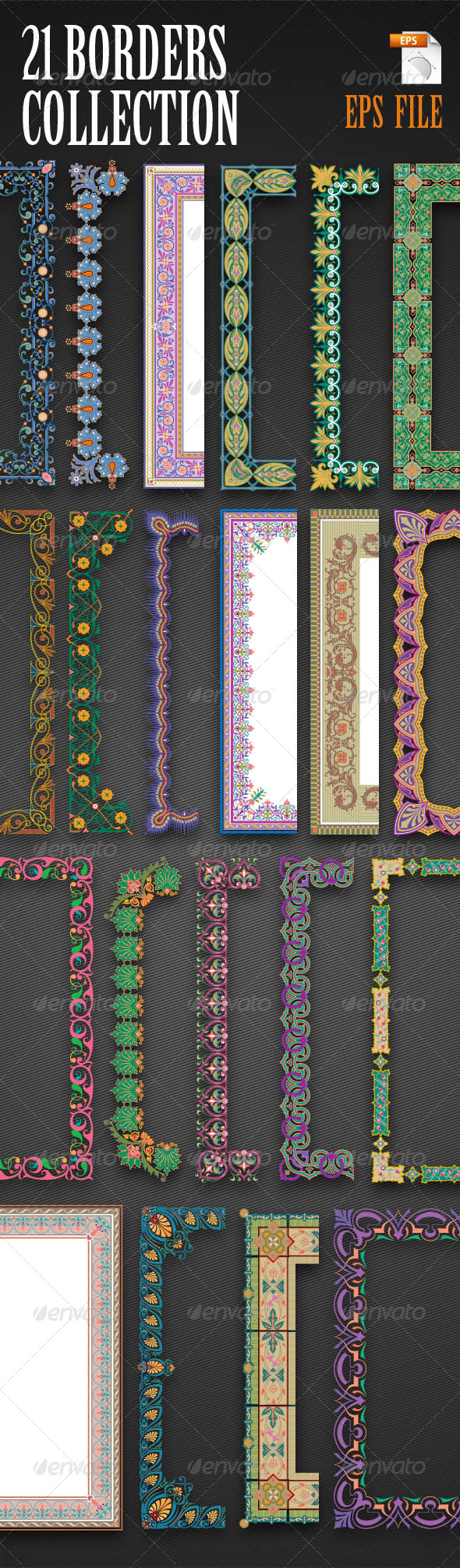 GraphicRiver 21 Vector Border Collection 6681442