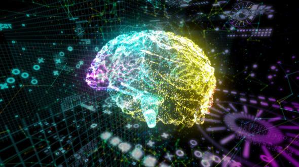 Futuristic Brain Hologram