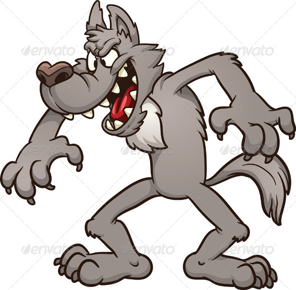 Big bad cartoon wolf. Vector clip art illustration with simple ...