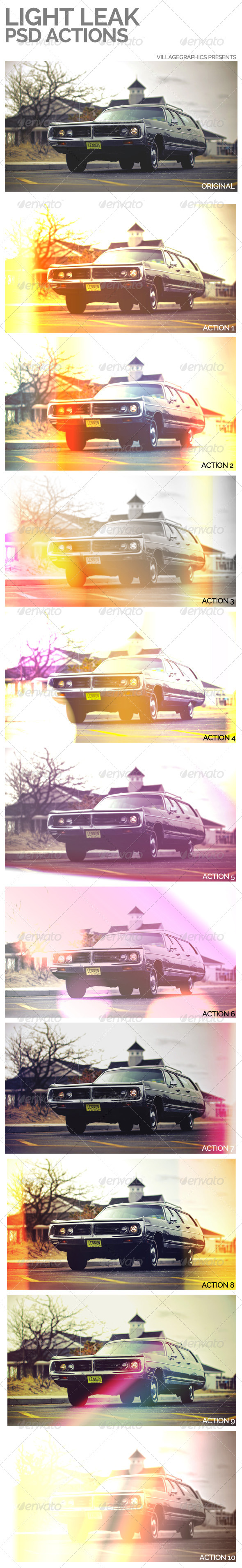 GraphicRiver 10 Light Leak Psd Actions 6682358