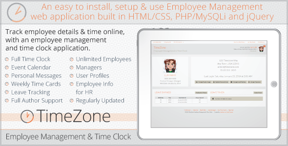 CodeCanyon TimeZone Employee Management & Time Clock 6682629