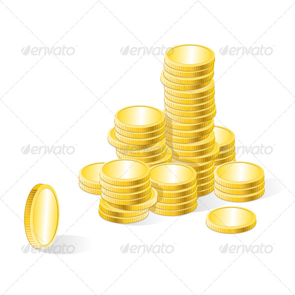 GraphicRiver Vector Gold Coins Stack 6683600