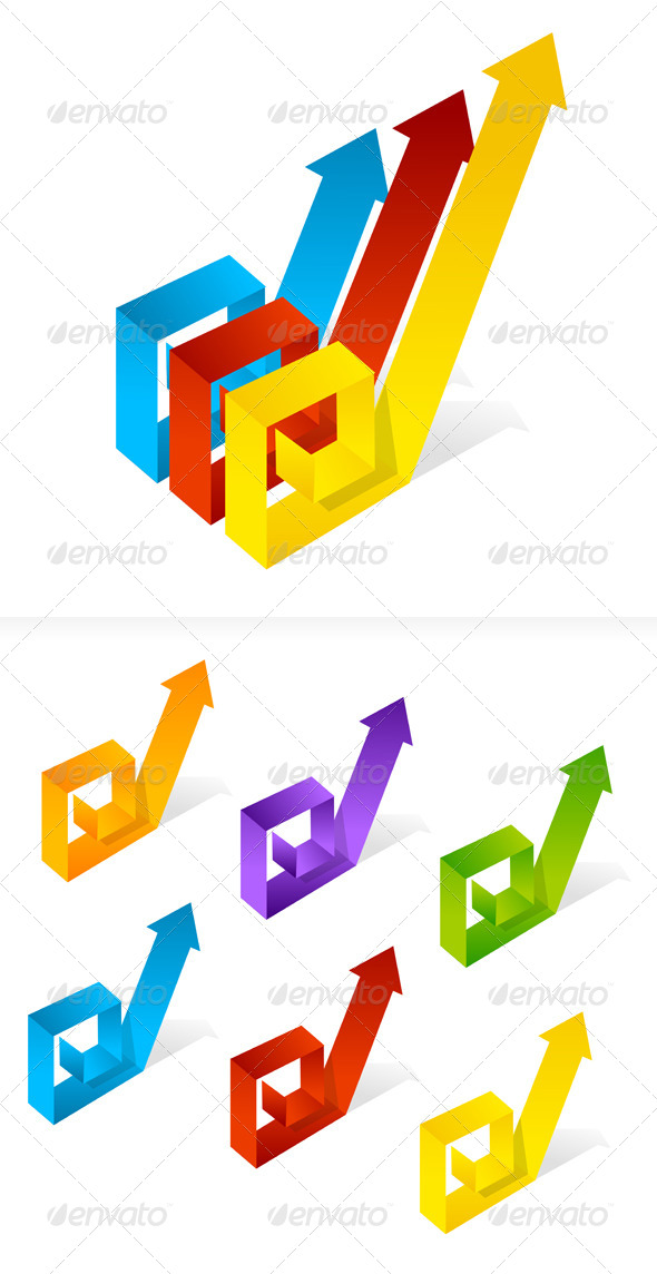 GraphicRiver Set of Colorful Paper Arrows 6683683