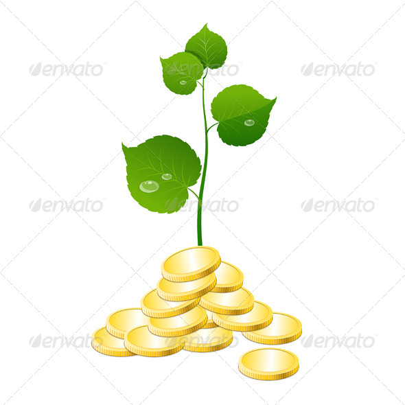 GraphicRiver Vector Coins and Plant 6683710