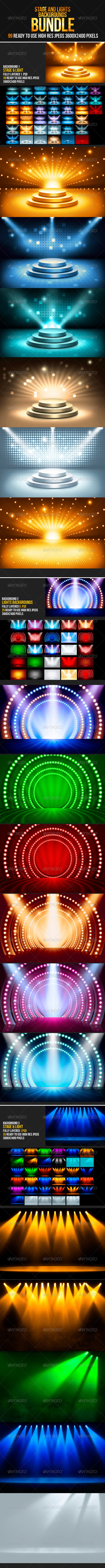 Stage & Lights Backgrounds Bundle - Backgrounds Graphics
