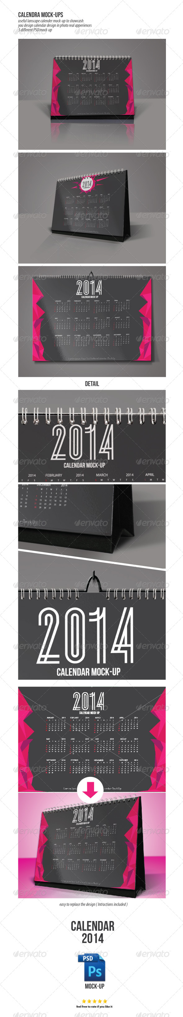 Mock-Ups Wall and Desk Calendar - Product Mock-Ups Graphics