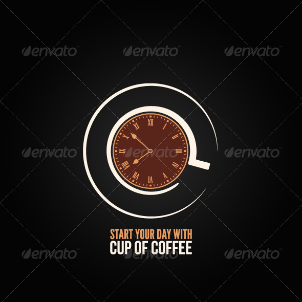 GraphicRiver Coffee Cup Time Clock Concept Design Background 6680845