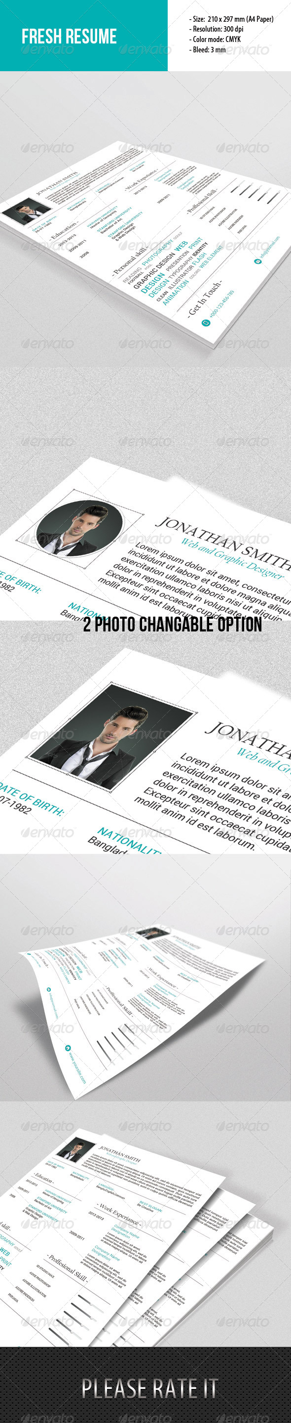 GraphicRiver Fresh Resume Template 6684471