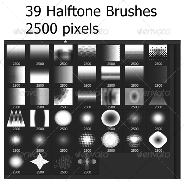 GraphicRiver 39 Halftones Brushes 6685020