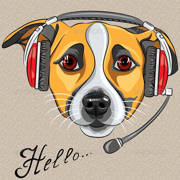 GraphicRiver Vector Dog Jack Russell Terrier with Phone Headset 6685104