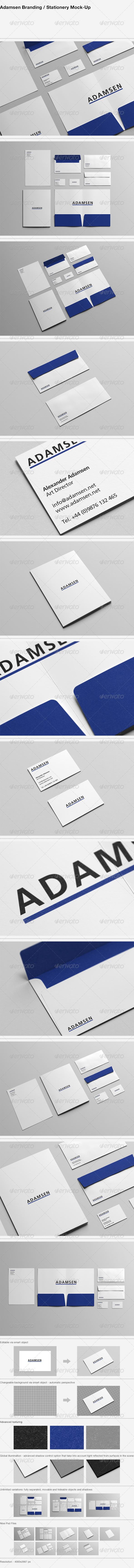 GraphicRiver Adamsen Branding Stationery Mock-Up 6685183