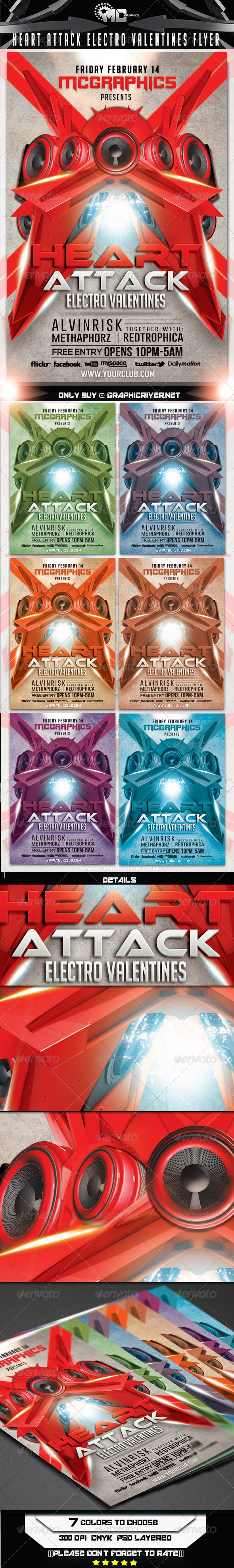 GraphicRiver Heart Attack Electro Valentines Flyer Template 6685421