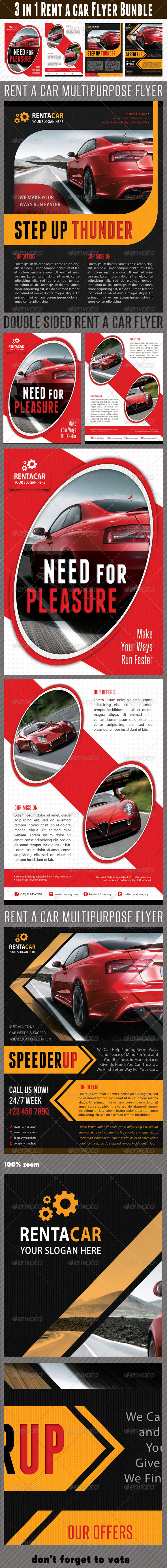 GraphicRiver 3 in 1 Rent A Car Flyer Bundle 02 6685425