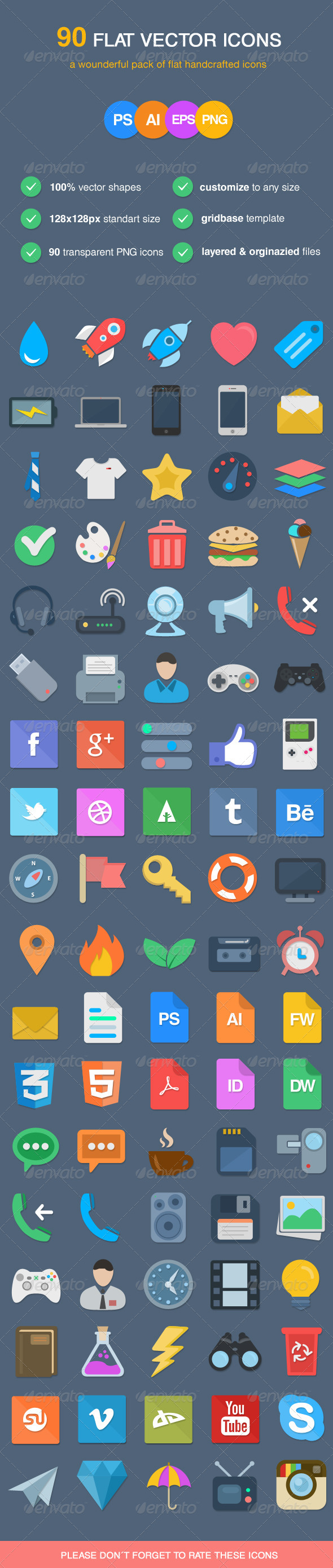 GraphicRiver 90 Flat Vector Icons 6685483