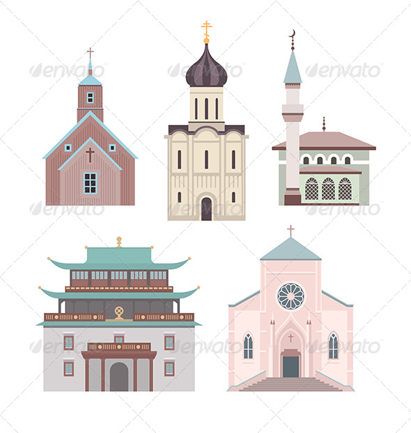 GraphicRiver Church Flat Illustration Collection 6685799