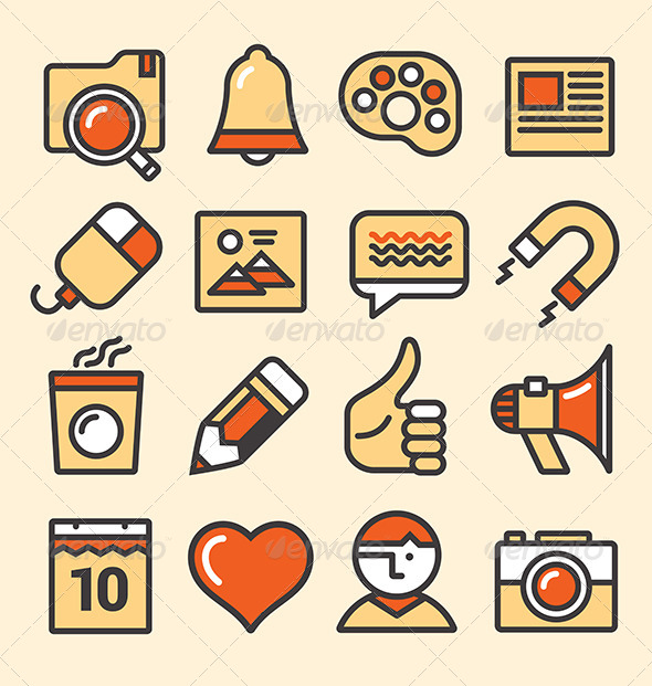 GraphicRiver Outlined Media Icons Set 6685817