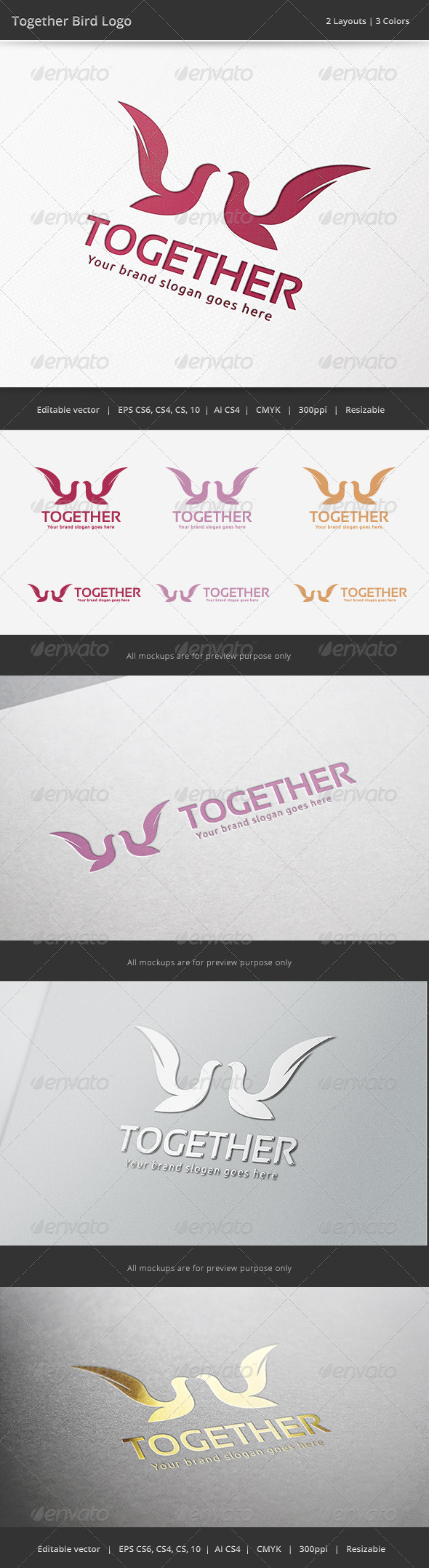 GraphicRiver Together Bird Logo 6686678