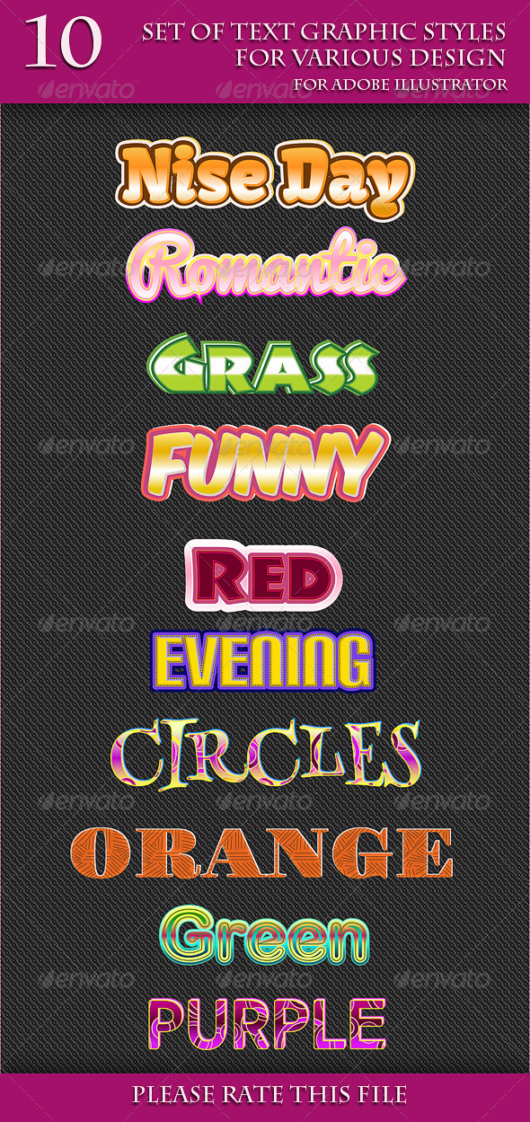 GraphicRiver Set of Text Graphic Styles for Various Design 6686685