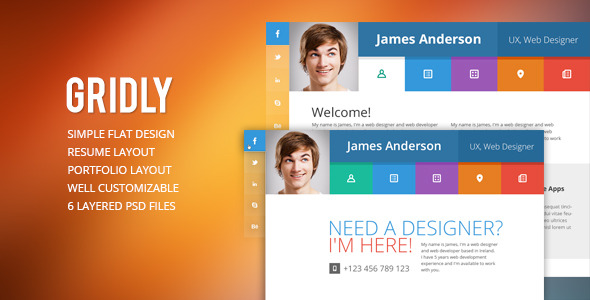 Gridly vCard PSD Template