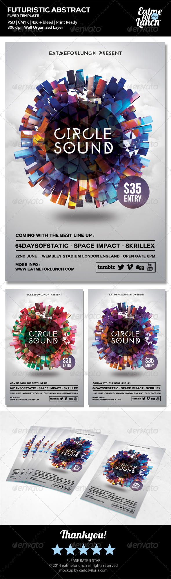GraphicRiver Futuristic Electronic Dance Club Flyer Templates 6686856
