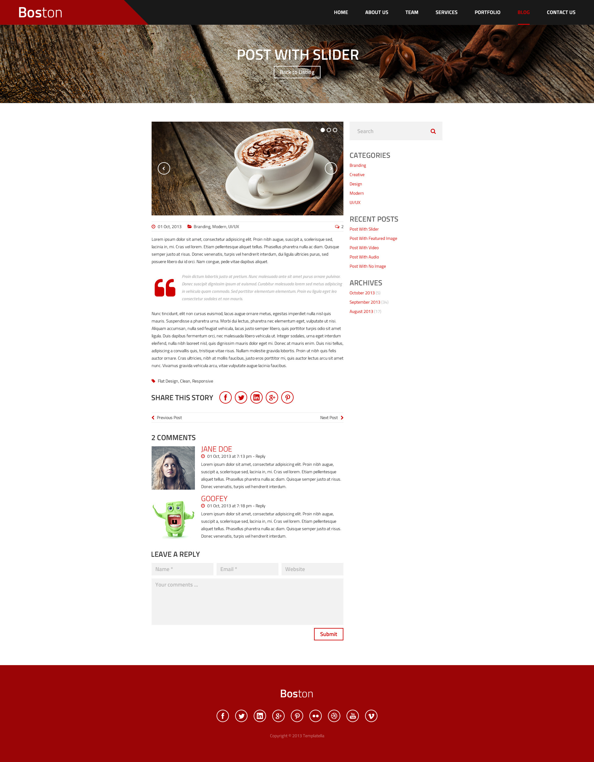 Boston - Corporate Parallax HTML Template