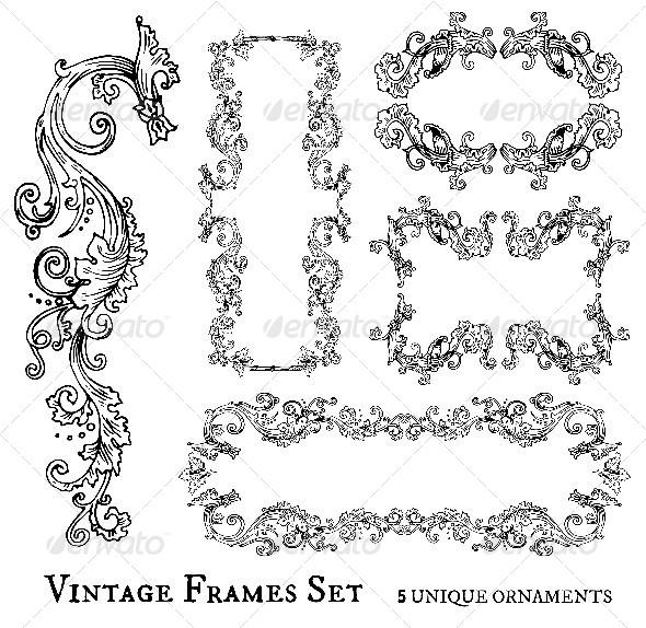 GraphicRiver Vintage Frames Set 6687188