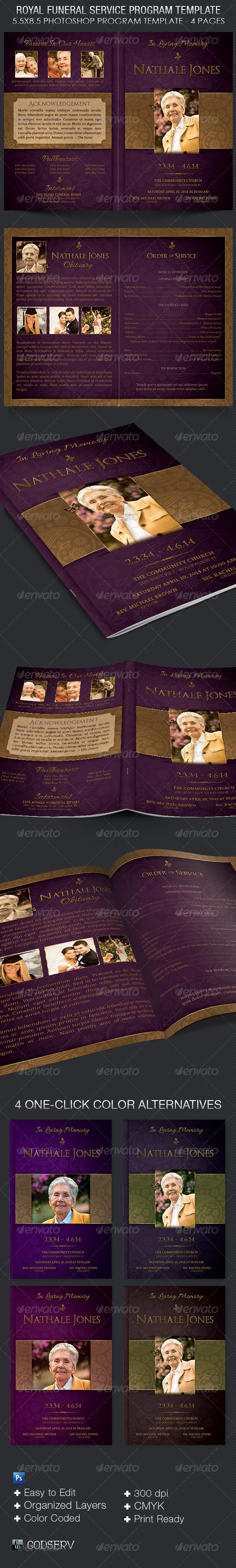 Royal Funeral Service Program Template - Informational Brochures