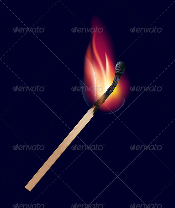 GraphicRiver Burning Match on Black 6688651