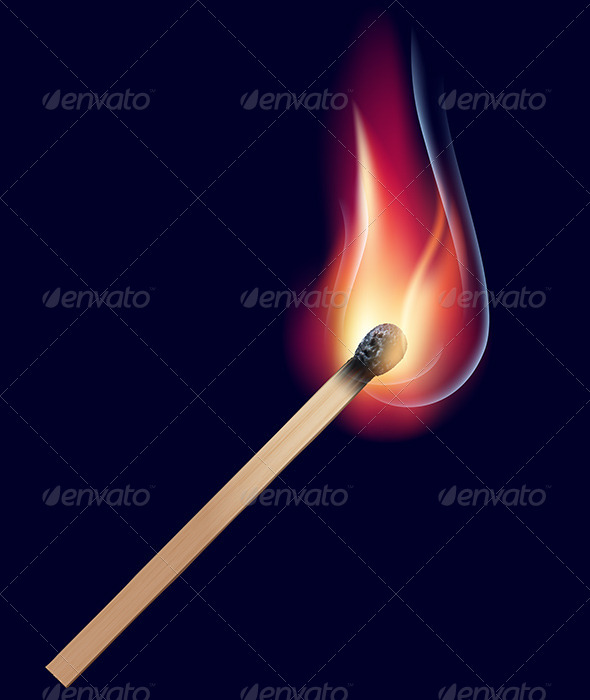 GraphicRiver Burning Match on Black 6688655