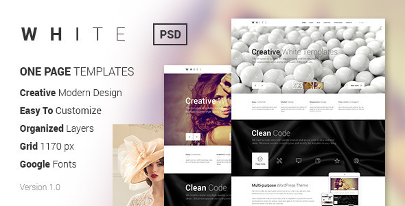 ThemeForest WHITE Creative One-Page PSD Template 6688703