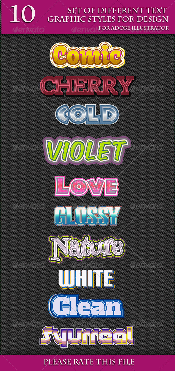 GraphicRiver Set of Different Text Graphic Styles for Design 6688801
