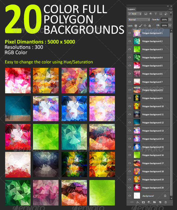 GraphicRiver Collection of Polygon Backgrounds 6689053
