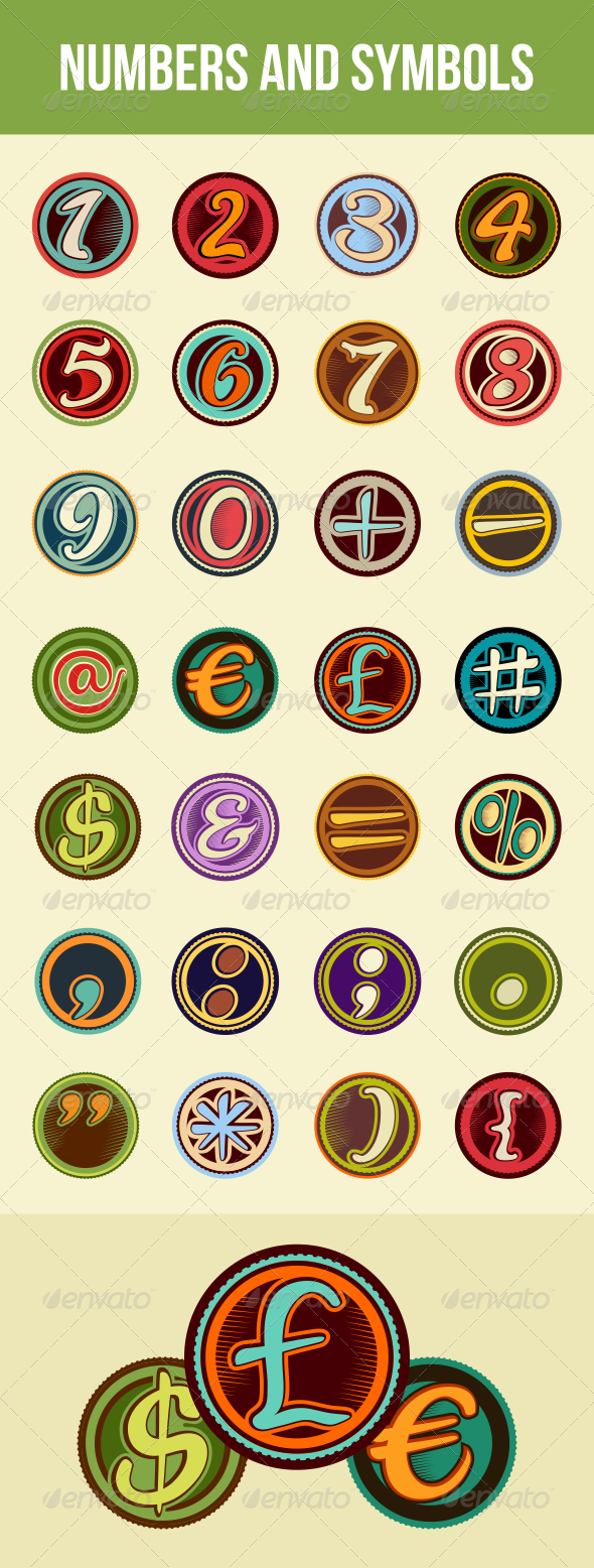 GraphicRiver Vintage Badge Numbers and Symbols 6689073