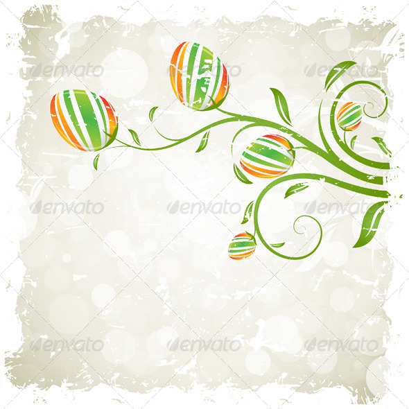 Grungy Easter Background with Decorated Eggs - Seasons/Holidays Conceptual