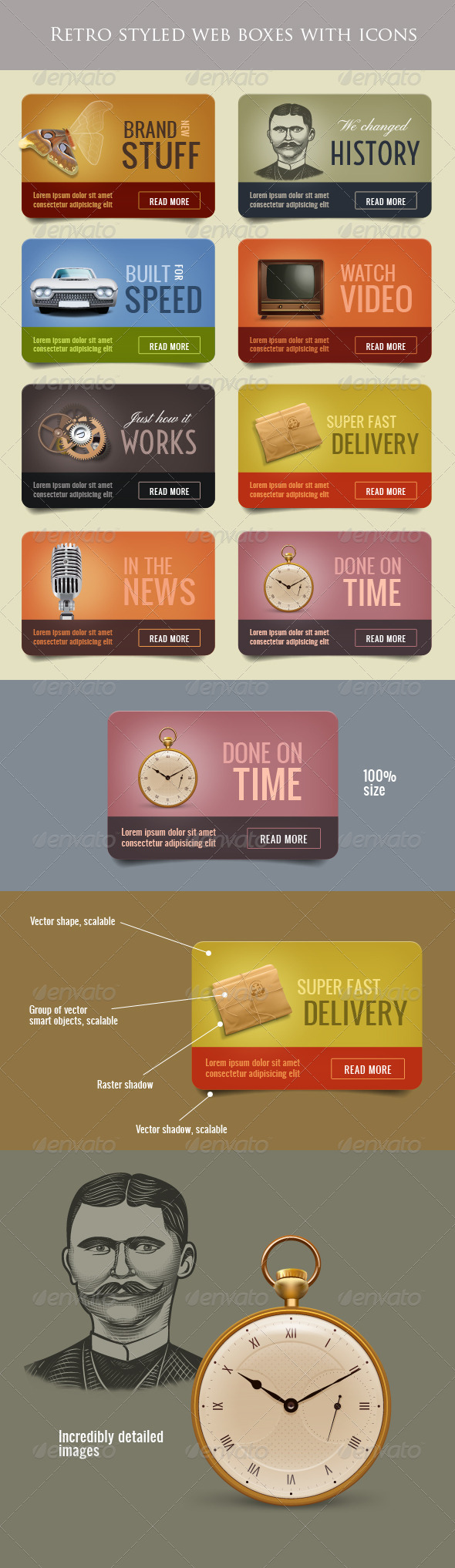 GraphicRiver Retro Web Boxes with Icons 700867